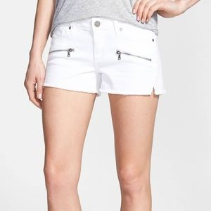 PAIGE - Indio Zip Shorts In Optic White NWT